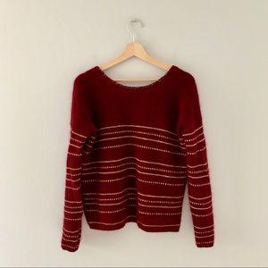 Sezane burgundy and gold striped sweater NWOT